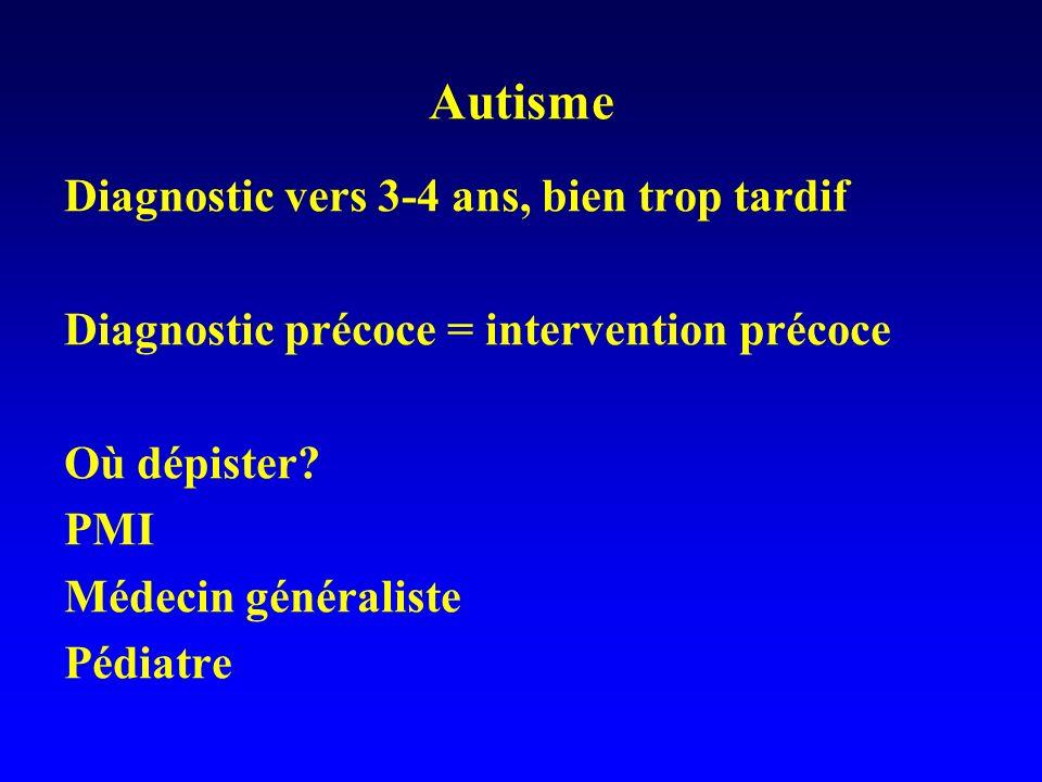 Autisme Diagnostic vers 3-4 ans, bien trop tardif