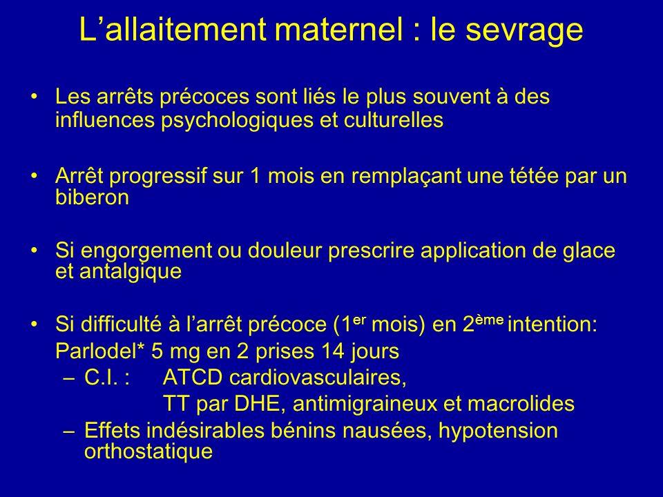 L'allaitement maternel : le sevrage
