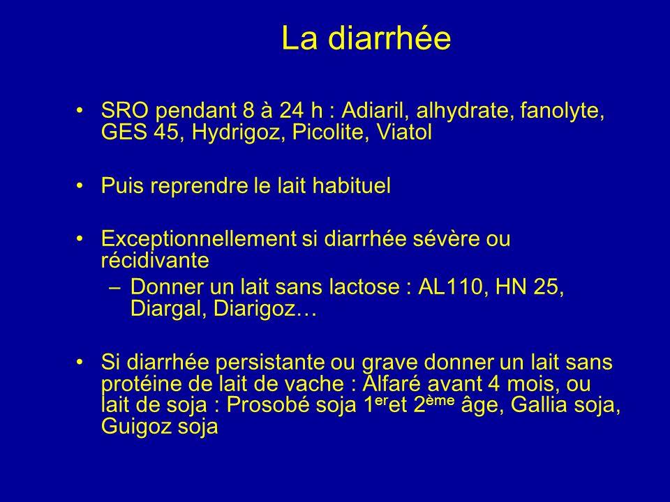 La diarrhée SRO pendant 8 à 24 h : Adiaril, alhydrate, fanolyte, GES 45, Hydrigoz, Picolite, Viatol.