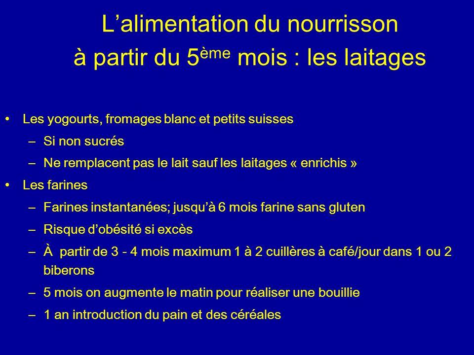 L'alimentation du nourrisson à partir du 5ème mois : les laitages