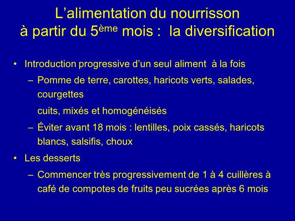 L'alimentation du nourrisson à partir du 5ème mois : la diversification