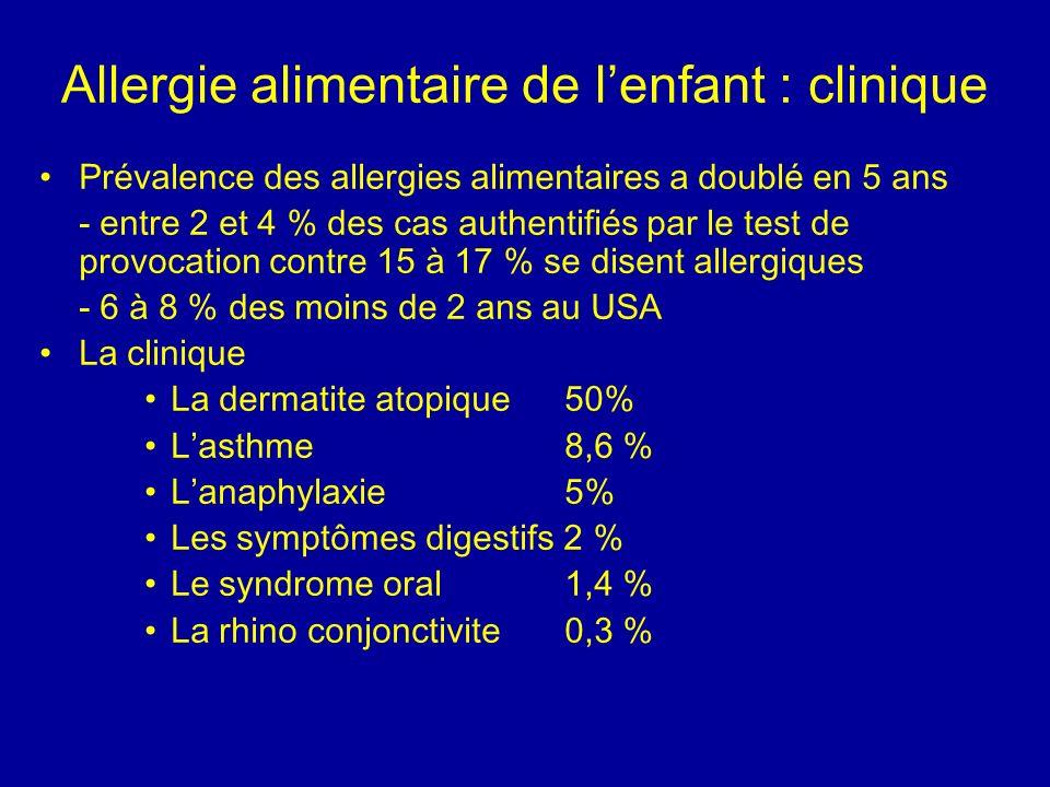 Allergie alimentaire de l'enfant : clinique