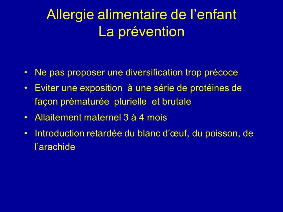 Allergie alimentaire de l'enfant La prévention