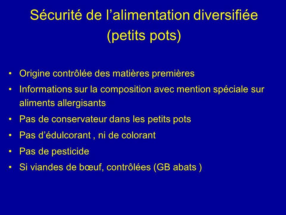Sécurité de l'alimentation diversifiée (petits pots)