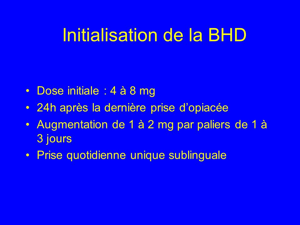 Initialisation de la BHD