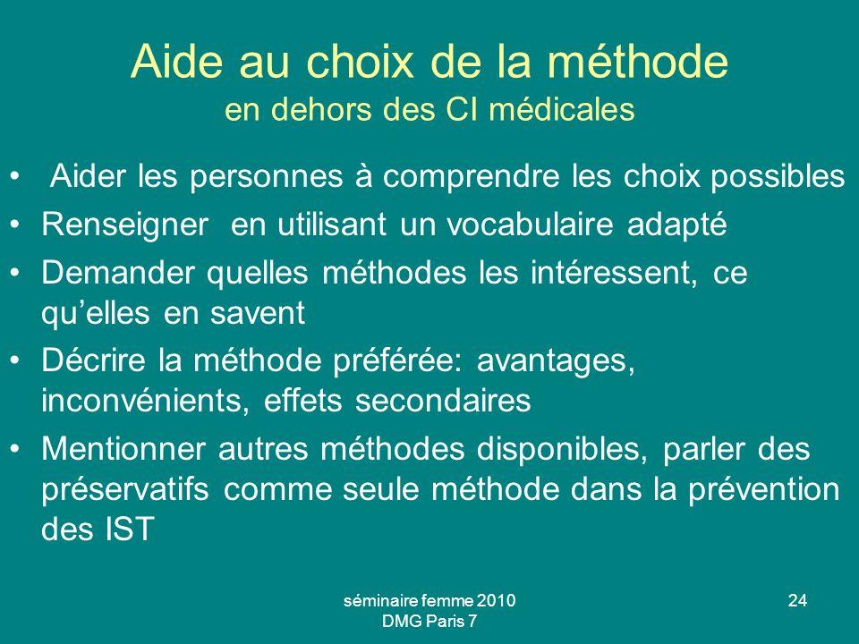 Aide au choix de la méthode en dehors des CI médicales