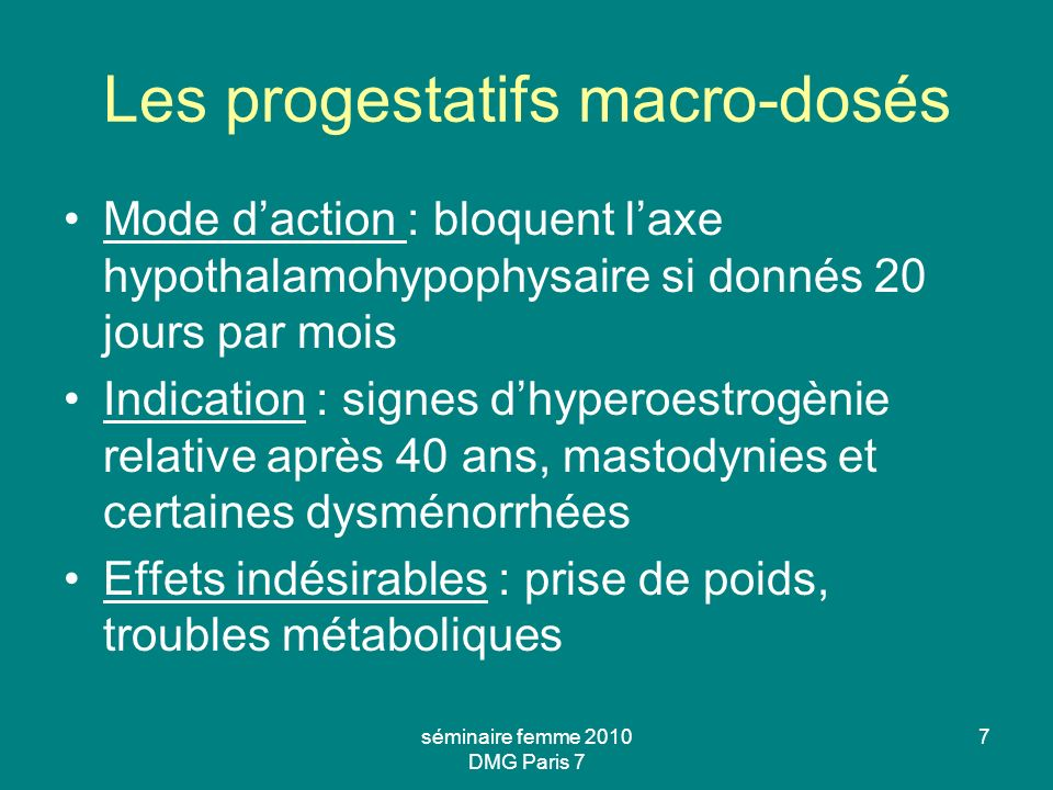 Les progestatifs macro-dosés