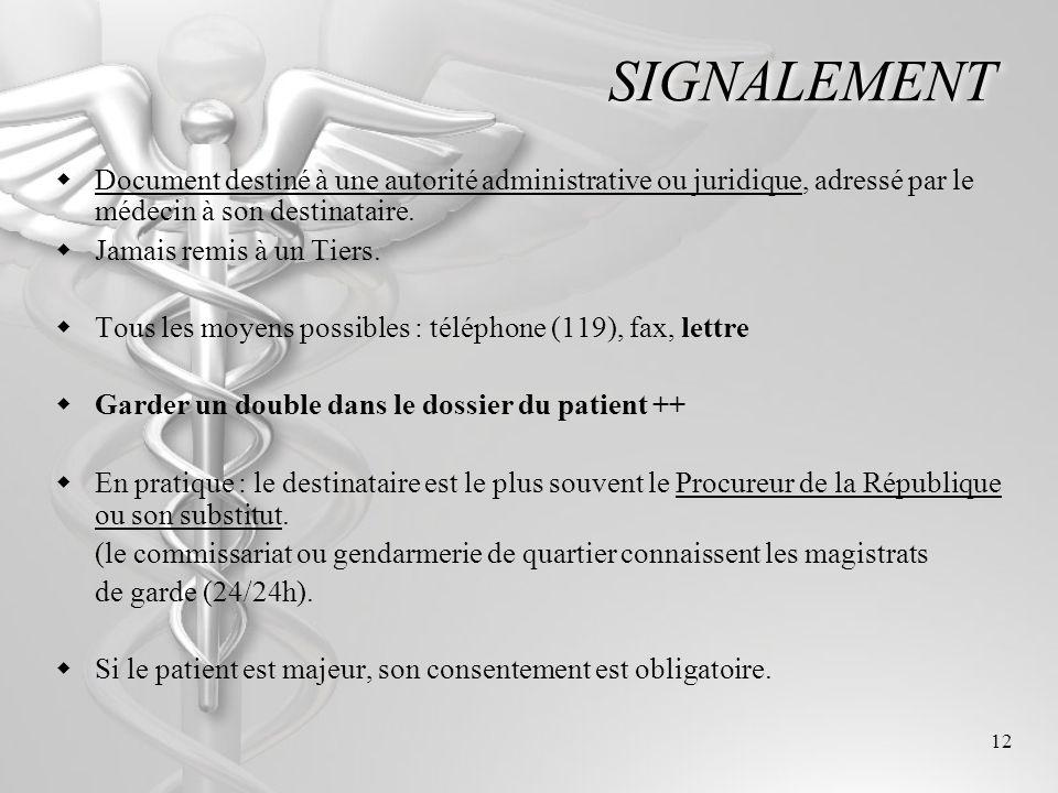 SIGNALEMENT Document destiné à une autorité administrative ou juridique, adressé par le médecin à son destinataire.