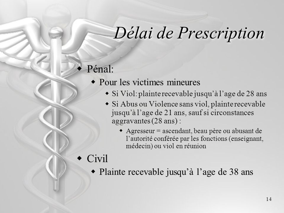 Délai de Prescription Pénal: Civil Pour les victimes mineures