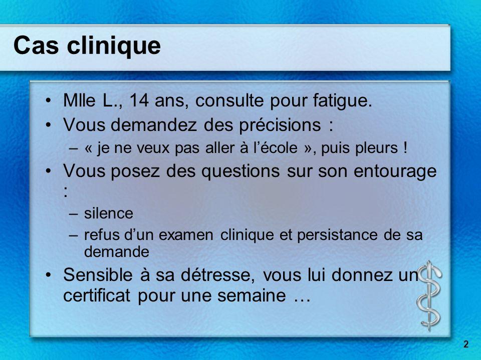 Cas clinique Mlle L., 14 ans, consulte pour fatigue.