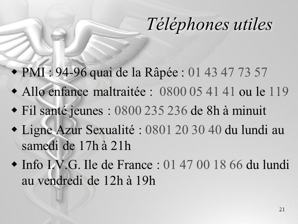 Téléphones utiles PMI : 94-96 quai de la Râpée : 01 43 47 73 57