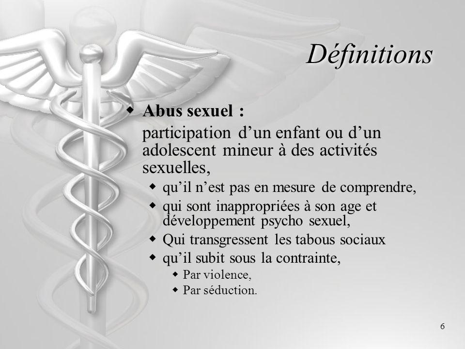 Définitions Abus sexuel :