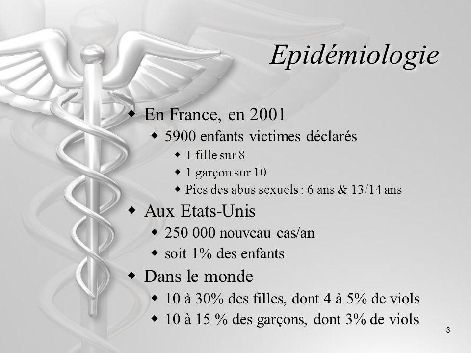 Epidémiologie En France, en 2001 Aux Etats-Unis Dans le monde