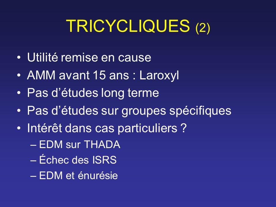 TRICYCLIQUES (2) Utilité remise en cause AMM avant 15 ans : Laroxyl