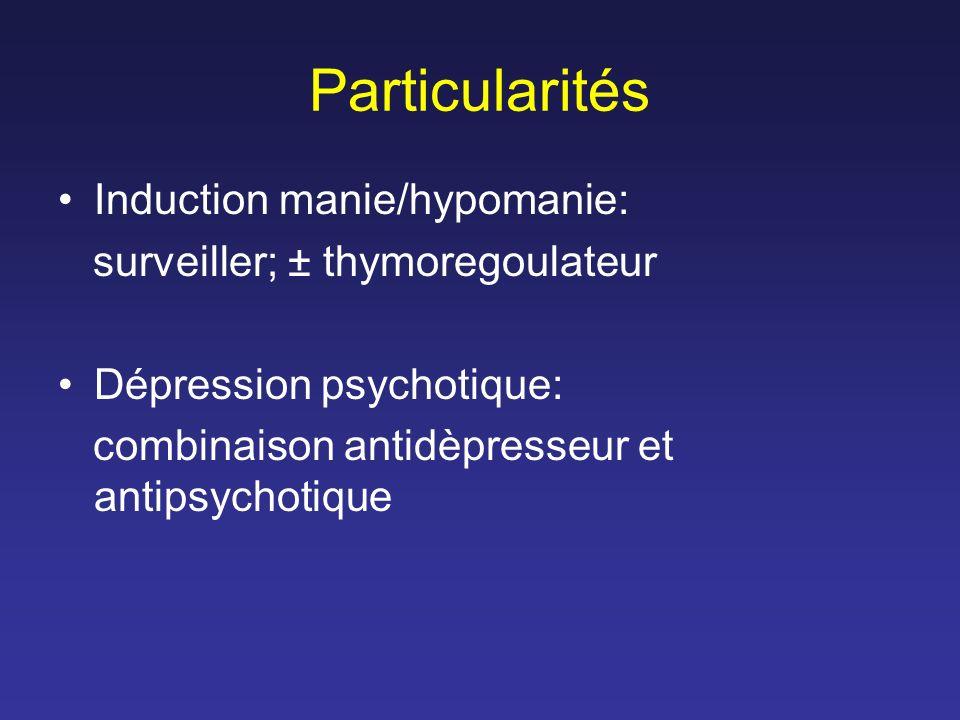 Particularités Induction manie/hypomanie: