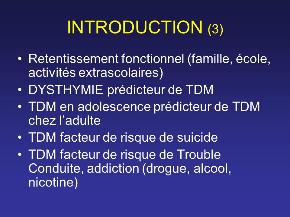 INTRODUCTION (3) Retentissement fonctionnel (famille, école, activités extrascolaires) DYSTHYMIE prédicteur de TDM.