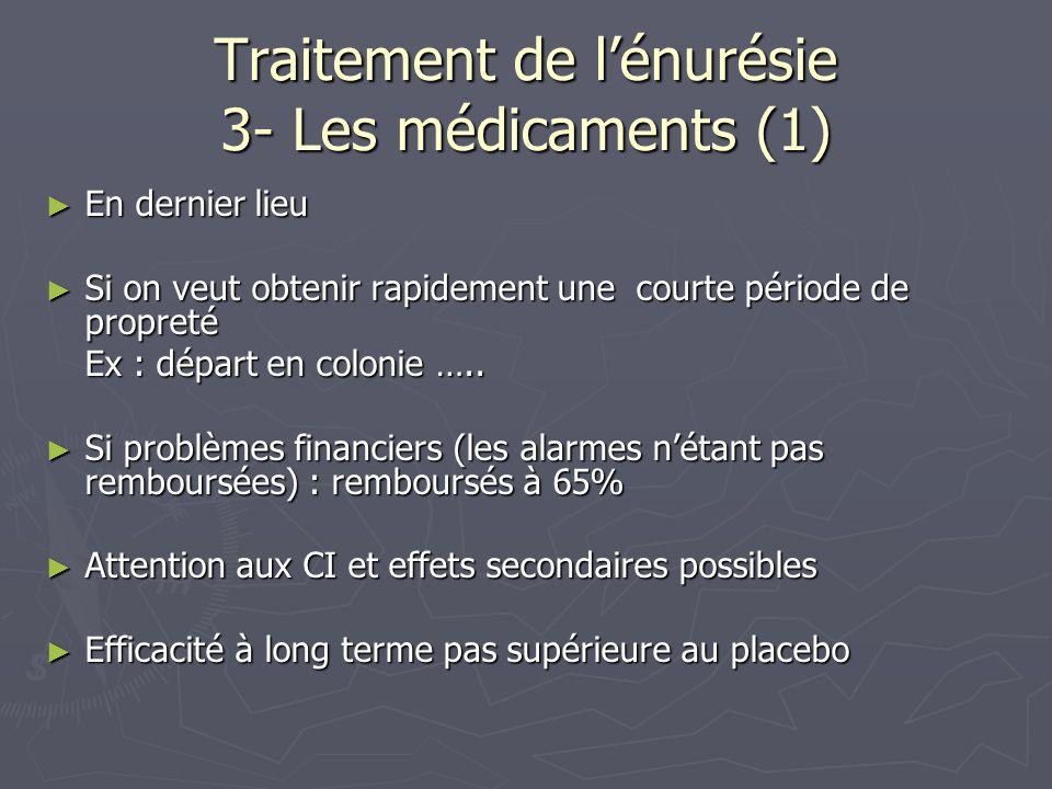 Traitement de l'énurésie 3- Les médicaments (1)