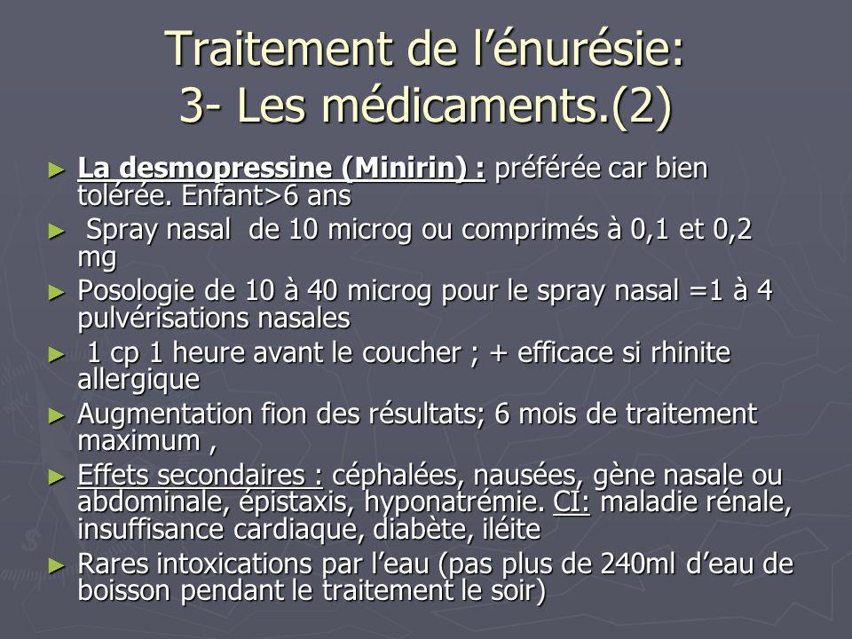 Traitement de l'énurésie: 3- Les médicaments.(2)