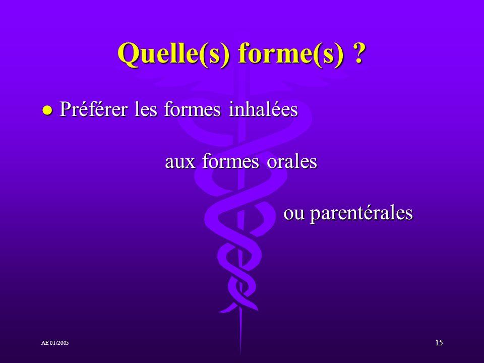 Quelle(s) forme(s) Préférer les formes inhalées aux formes orales ou parentérales.