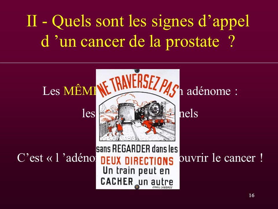 II - Quels sont les signes d'appel d 'un cancer de la prostate