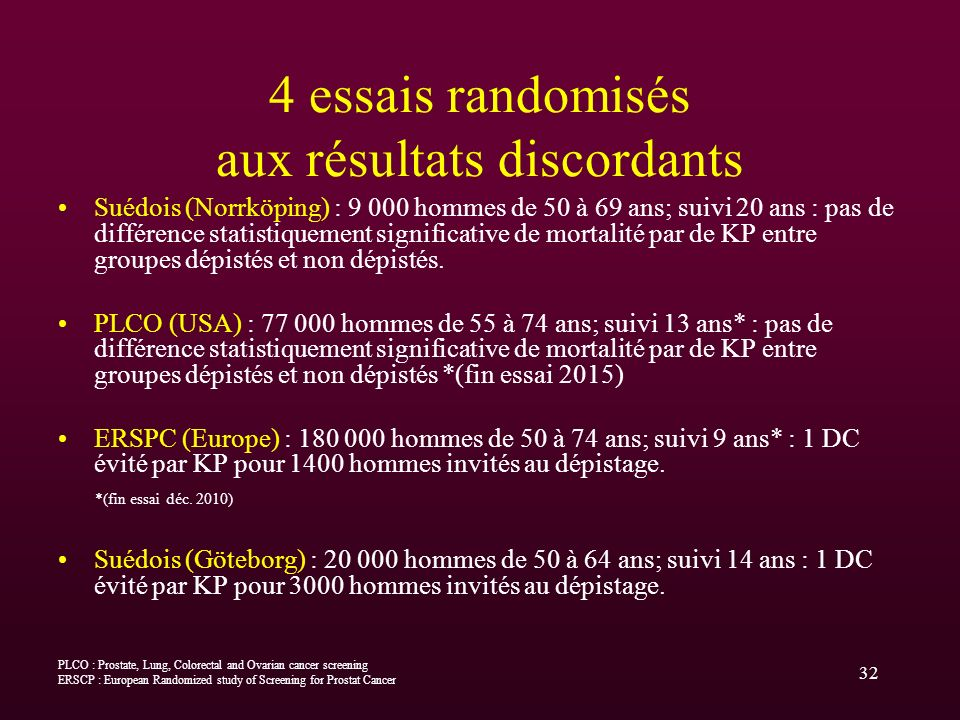 4 essais randomisés aux résultats discordants