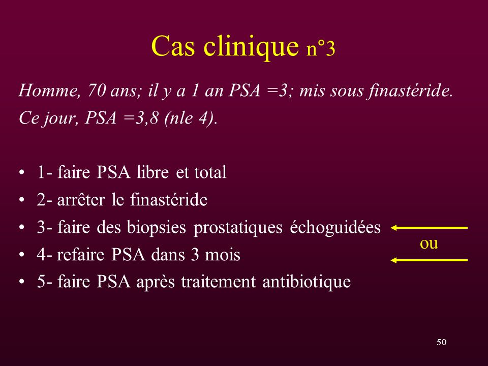 Cas clinique n°3 Homme, 70 ans; il y a 1 an PSA =3; mis sous finastéride. Ce jour, PSA =3,8 (nle 4).