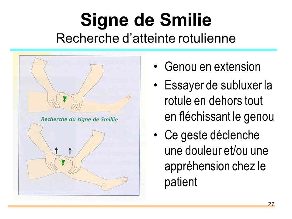 Signe de Smilie Recherche d'atteinte rotulienne