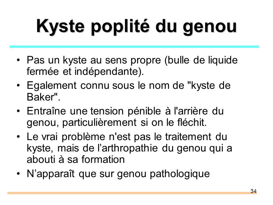 Kyste poplité du genou Pas un kyste au sens propre (bulle de liquide fermée et indépendante). Egalement connu sous le nom de kyste de Baker .