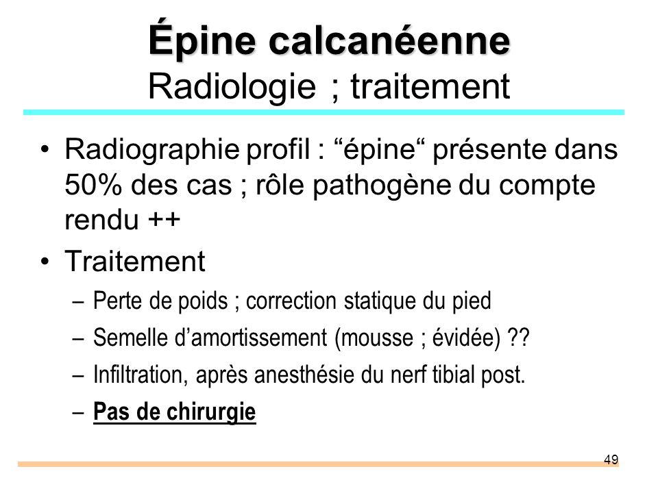 Épine calcanéenne Radiologie ; traitement