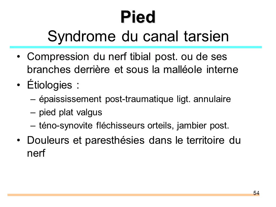 Pied Syndrome du canal tarsien