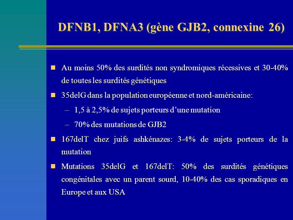 DFNB1, DFNA3 (gène GJB2, connexine 26)