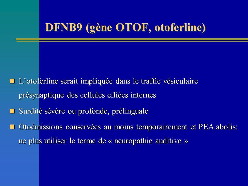 DFNB9 (gène OTOF, otoferline)