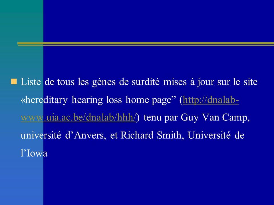 Liste de tous les gènes de surdité mises à jour sur le site «hereditary hearing loss home page (http://dnalab-www.uia.ac.be/dnalab/hhh/) tenu par Guy Van Camp, université d'Anvers, et Richard Smith, Université de l'Iowa
