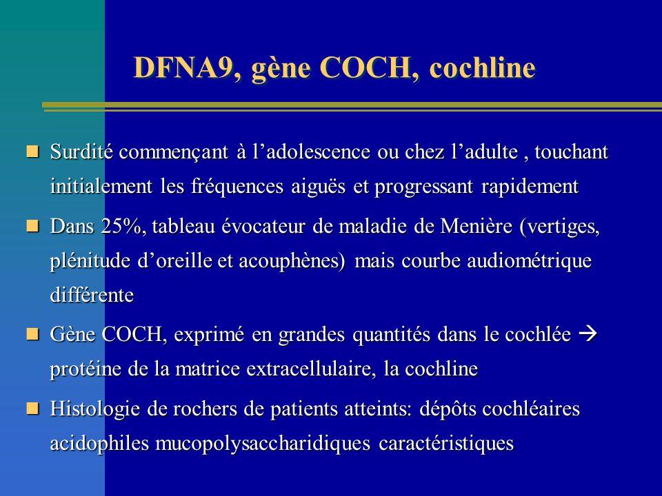 DFNA9, gène COCH, cochline