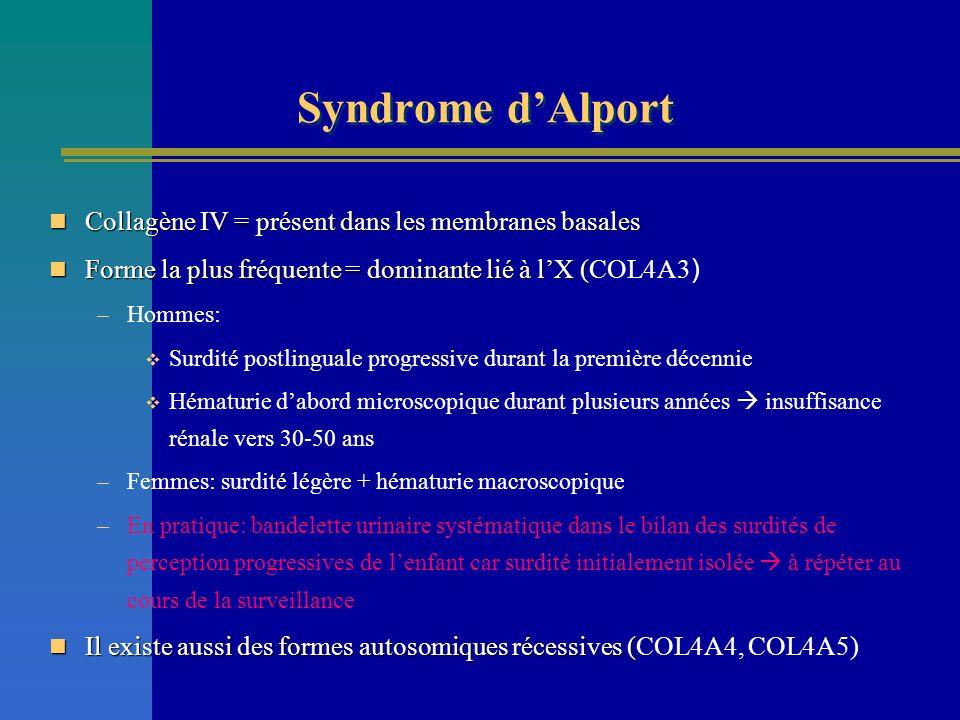 Syndrome d'Alport Collagène IV = présent dans les membranes basales