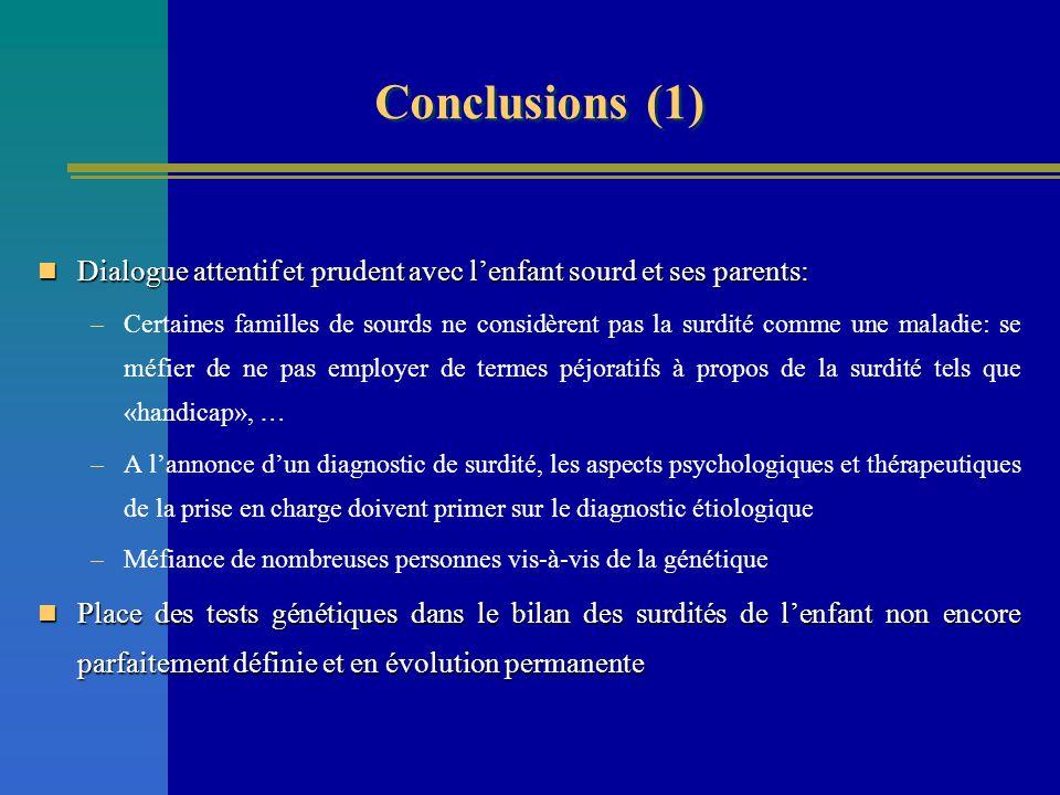 Conclusions (1) Dialogue attentif et prudent avec l'enfant sourd et ses parents: