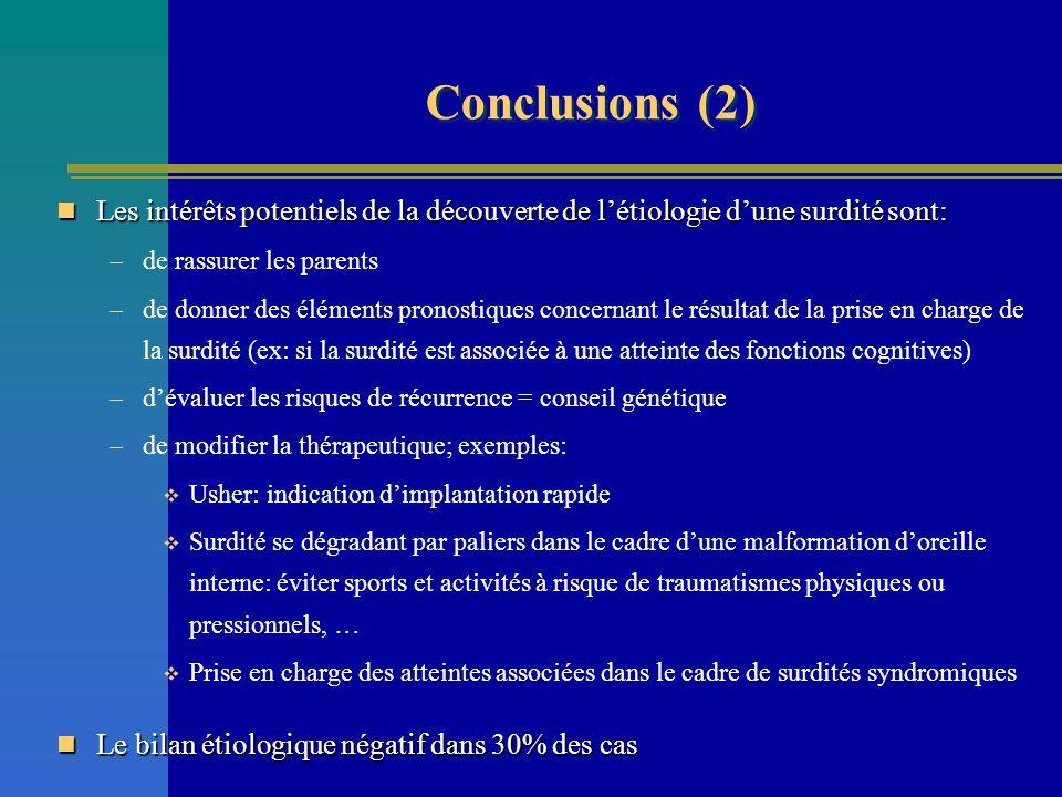 Conclusions (2) Les intérêts potentiels de la découverte de l'étiologie d'une surdité sont: de rassurer les parents.
