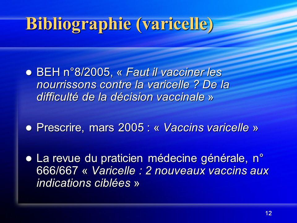 Bibliographie (varicelle)