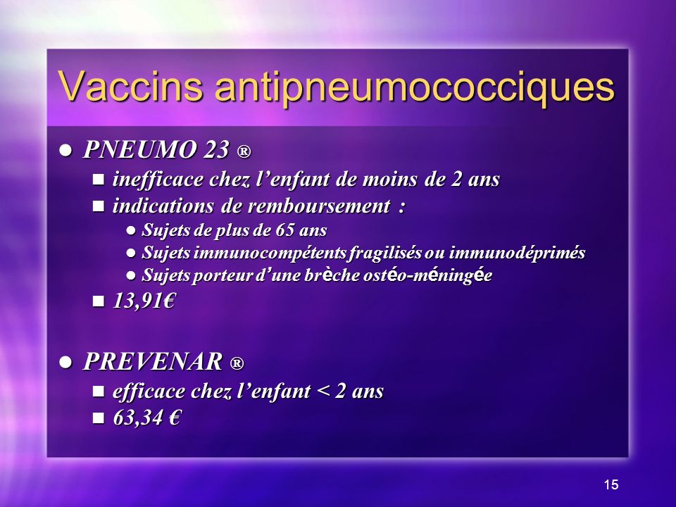 Vaccins antipneumococciques