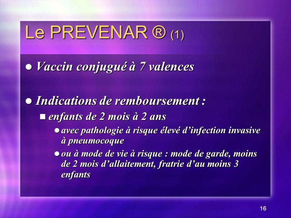 Le PREVENAR ® (1) Vaccin conjugué à 7 valences