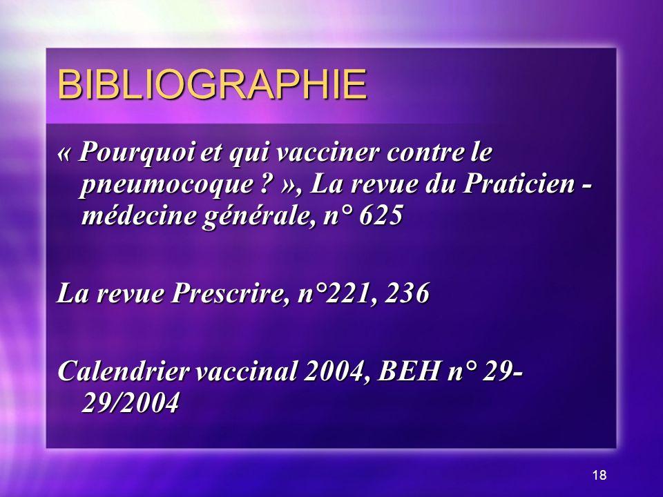 BIBLIOGRAPHIE « Pourquoi et qui vacciner contre le pneumocoque », La revue du Praticien - médecine générale, n° 625.