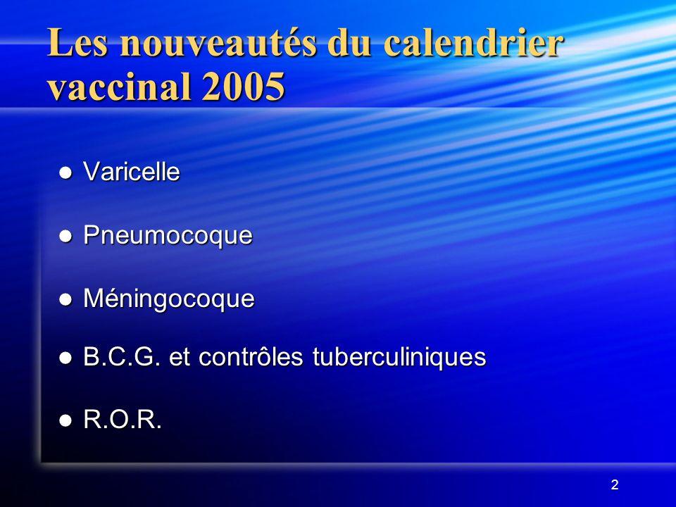 Les nouveautés du calendrier vaccinal 2005