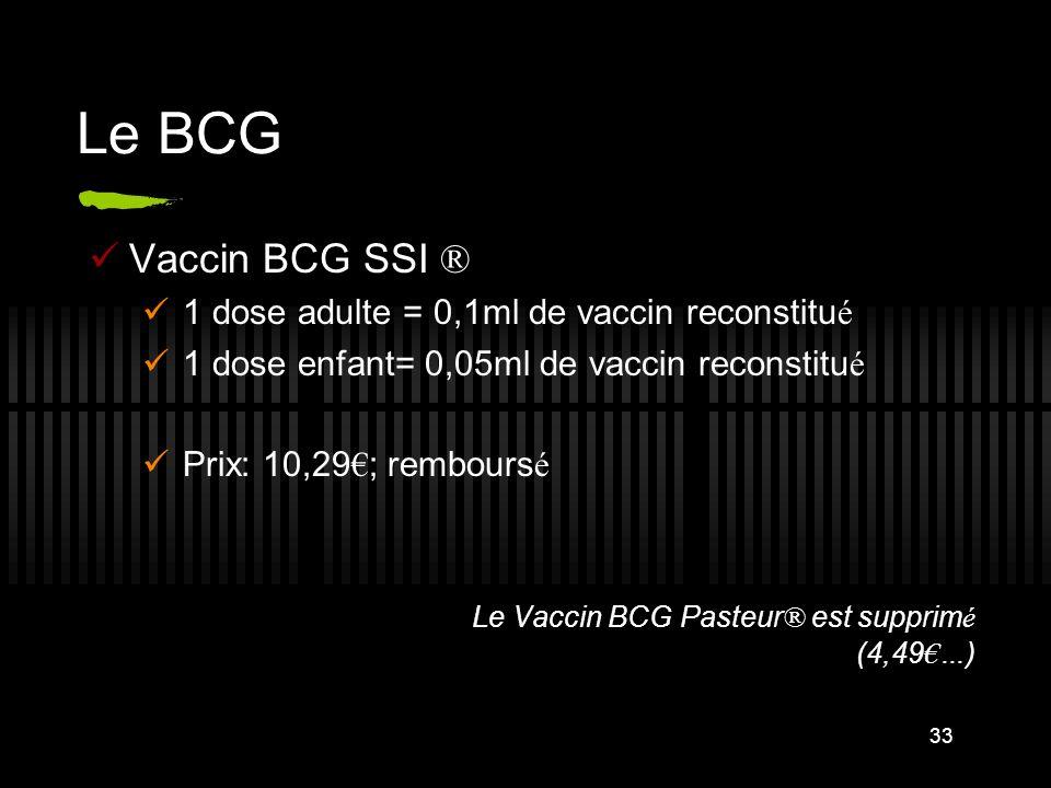Le BCG Vaccin BCG SSI ® 1 dose adulte = 0,1ml de vaccin reconstitué