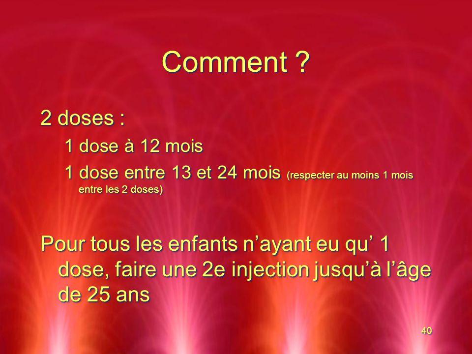 Comment 2 doses : 1 dose à 12 mois. 1 dose entre 13 et 24 mois (respecter au moins 1 mois entre les 2 doses)