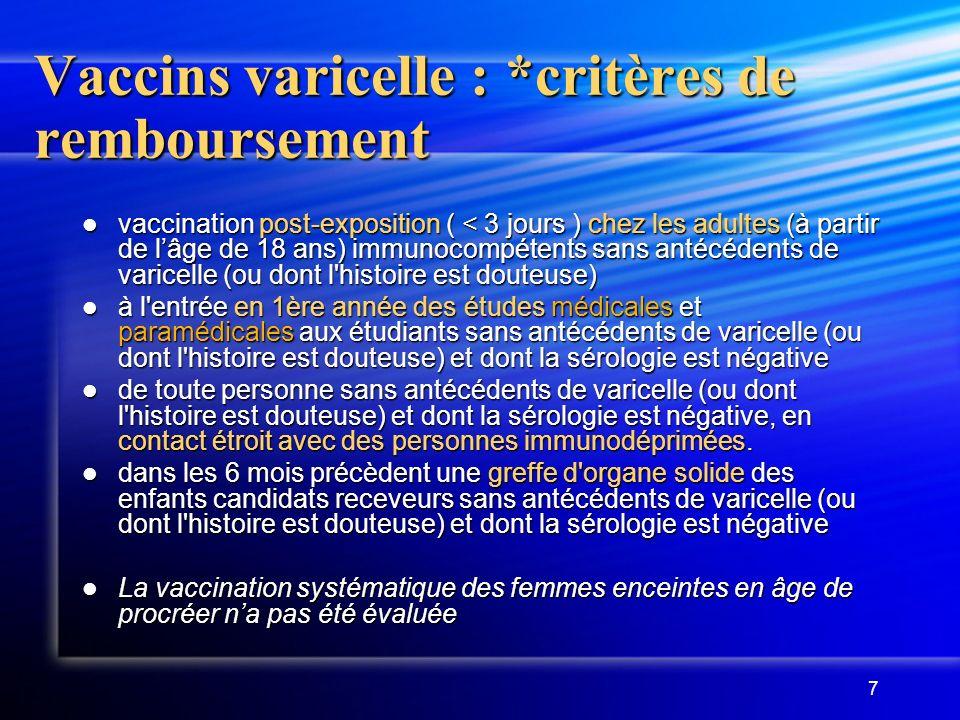 Vaccins varicelle : *critères de remboursement