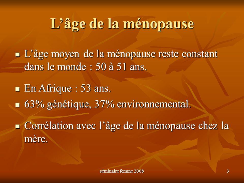L'âge de la ménopause L'âge moyen de la ménopause reste constant dans le monde : 50 à 51 ans. En Afrique : 53 ans.