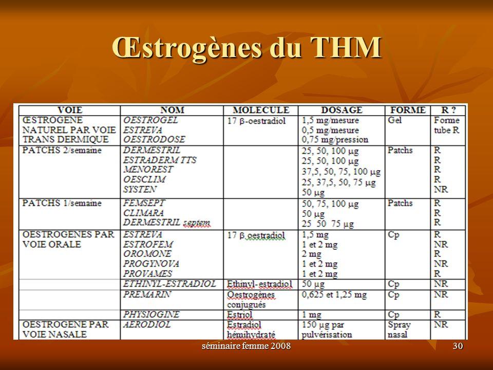 Œstrogènes du THM séminaire femme 2008 30