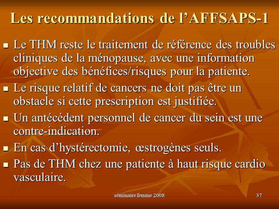Les recommandations de l'AFFSAPS-1