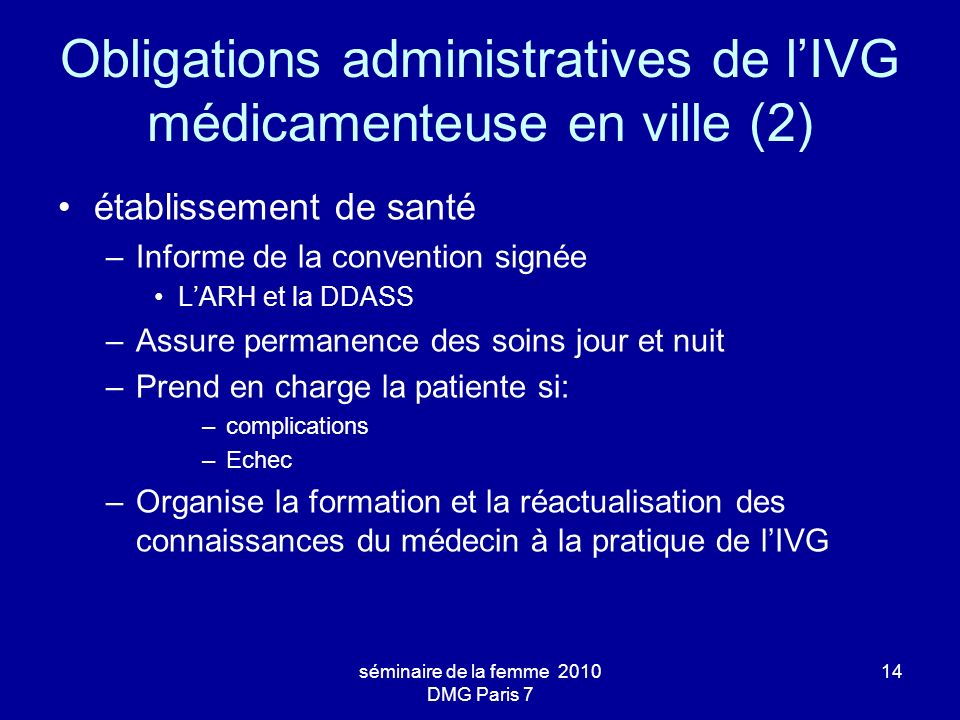 Obligations administratives de l'IVG médicamenteuse en ville (2)