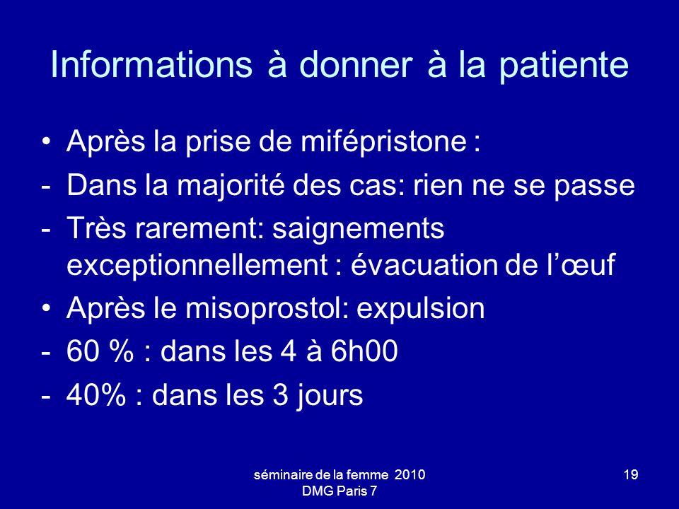 Informations à donner à la patiente